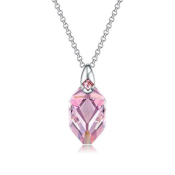 Violet Crystals From Swarovski Sweater Pendant Necklace-Necklaces-Vera Nova Jewelry