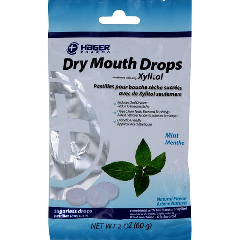 HAGER PHARMA: Dry Mouth Drops Mint, 2 oz