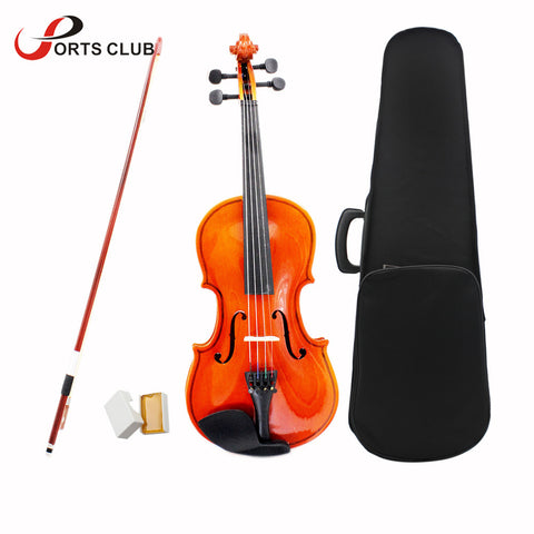 4/4 Violin Fiddle Stringed Instrument Musical Toy for Kids Beginners High Quality Basswood Body Steel String Arbor Bow Rosin