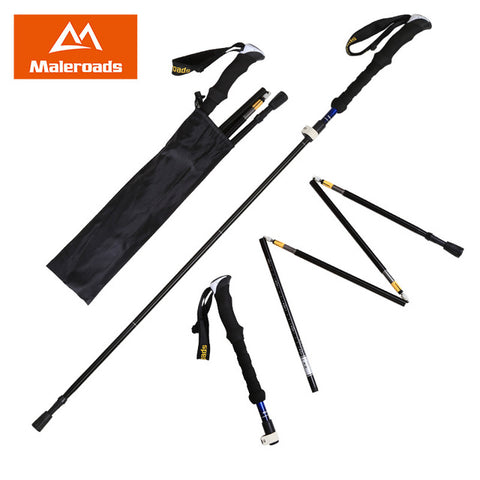 Maleroads Nordic Walking Sticks Hiking Pole Aluminum Adjustable Alpenstock Trekking Sticks Climbing Stick Walking Trekking Poles