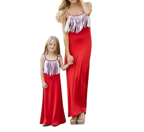Mom and Me Summer Dress Women girls dress Sleeveless Strap Long Dress Family Outfits Clothes drop shipping