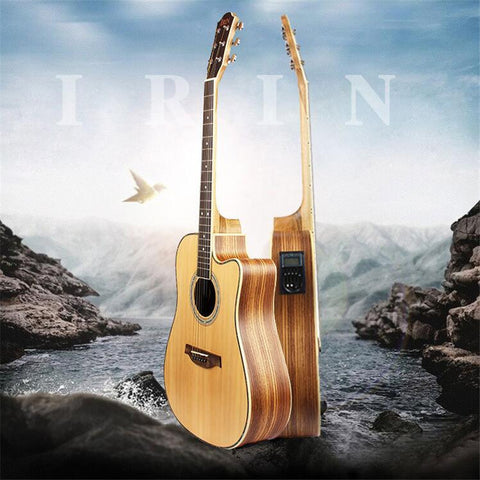 41'' Wooden Folk Guitarra 21 Fret Acoustic Electric Bass Guitar 6 Strings Concert Ukulele for Musical Stringed Instrument Lover