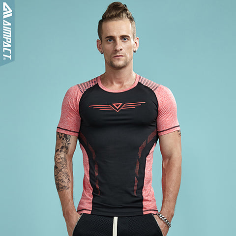 Aimpact 2017 New Men Tight Tshirts Fashion Sexy Slim Fit Workout Tees for Men Crossfit Elastic Patchwork T-shirt Male AM1031
