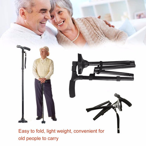 LED Light Folding Old Man Safety Walking Stick 4 Head Pivoting Trusty Base For T-Handlebar Trekking Hiking Poles Cane for elders
