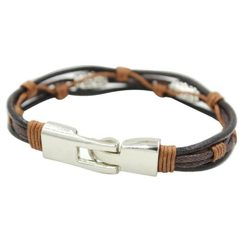 Alloy Leather Genuine Leather Strap Bracelets Rope Black Silver Brown Braided
