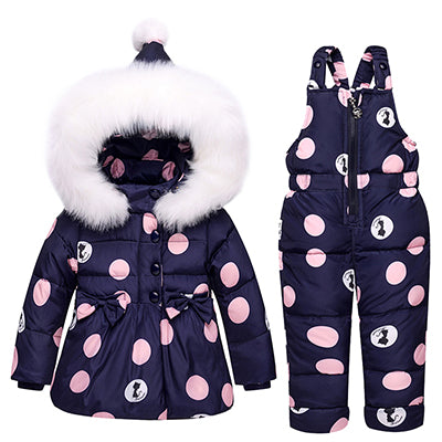 Actionclub Hooded Down Jacket With Fur For Kids Dot Cartoon Cat Animal Pattern Children Outwear Winter Baby Boys Girls Knot Coat