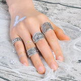 4PCS Vintage Women's Crystal Flower Knuckle Ring Tibetan Turkish Gift Gold