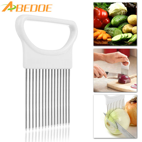 ABEDOE 1Pcs Onion Cutter Slicer Stainless Steel Vegetable Slicer Holder Kitchen Gadgets Potato Cutter Cooking Tool