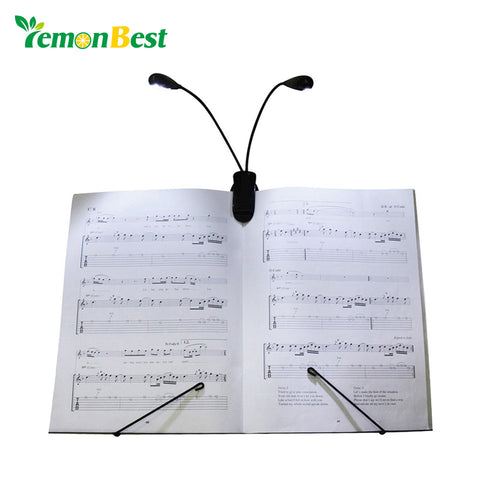 LemonBest Dual Head Clip Book Light Booklight 4 Led Ebook Mini Flexible Bright Clip Reader 2 Mode Reading Lamp Battery Desk