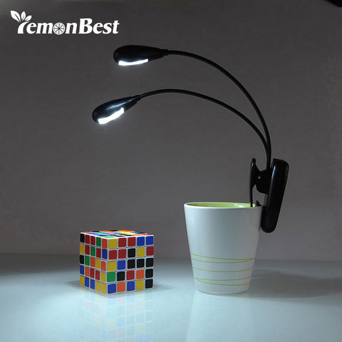 LemonBest LED Reading Lamp Dual Arms 2 LEDs Flexible Book Sheet Music Stand Reading Light Student Dormitory Lights With Clip