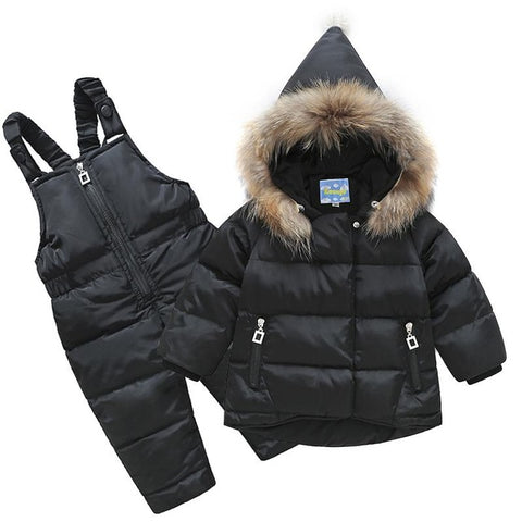 Autumn - winter baby coats kids girls Jacket + pants overalls suit Raccoon Fur Infant clothes for boys clothing 1-4 years old