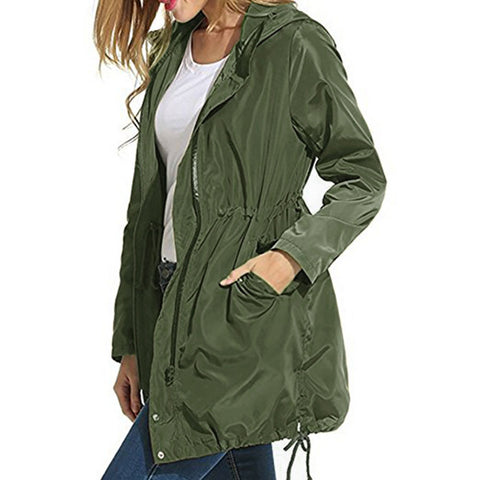 Women Rain Jacket Waterproof Hooded Zip Lightweight Trench Coat Windbreaker