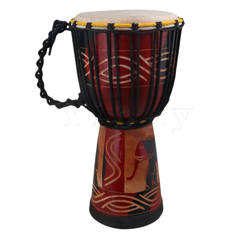 Yibuy 8 Inch Hand-Carved African Drum Mini Djembe Drum Percussion Solid Wood Carved with Elephant Painted Design & Rope Tuned