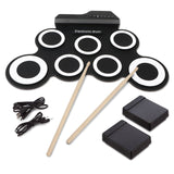 7 Pad Portable Foldable Practice Instrument Electronic Roll up Drum Pad Kits with 2 Foot Pedals and Drum Sticks for Beginner