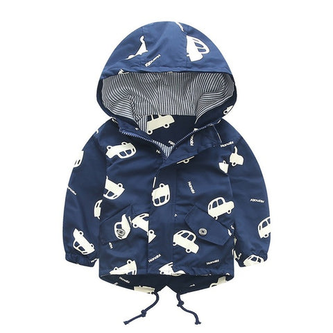 70-120cm Spring Boys Girls Jacket Kids Outerwear Cute Car Windbreaker Coats Fashion Print Canvas Baby Children Clothing oyfy