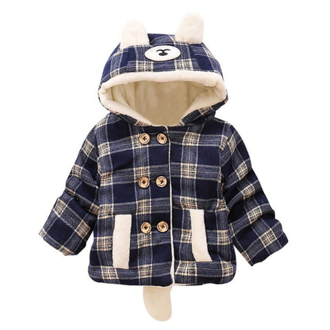 2017 Fashion Autumn Baby Boys Coat Plaid Cotton Clothes Kids Boys Jackets Baby Girls Hooded Coat Outwear