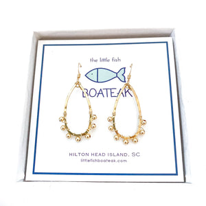 coastal glam {gold metal bead} mini keel earrings