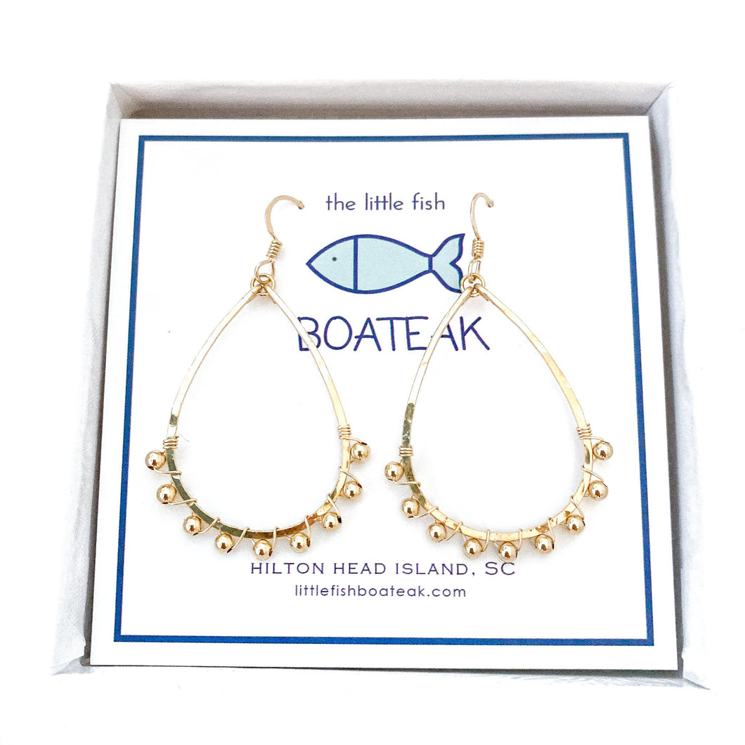 coastal glam {gold metal bead} mini schooner earrings