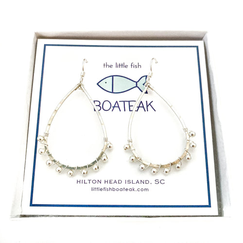 coastal glam {silver metal bead} mini schooner earrings