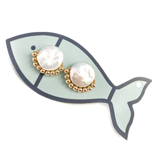 dapper studs {gold metal beads}