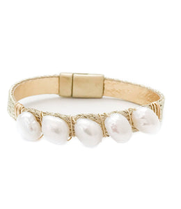 mermaid single cuff {pearl/gold weave}