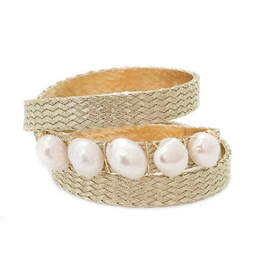 mermaid triple wrap {pearl/gold weave}
