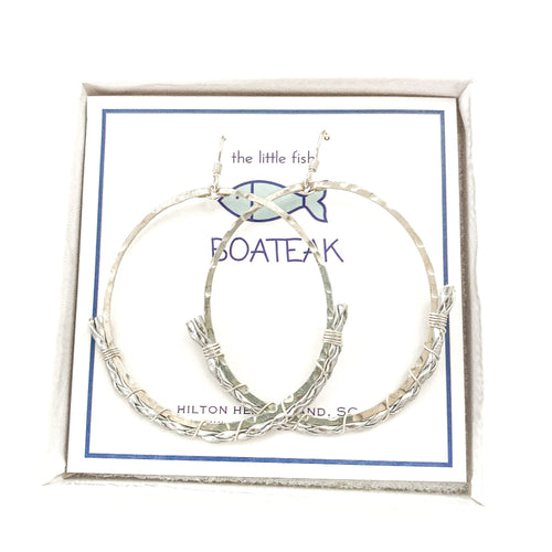 dock line rope earrings {silver braid} mainsail large