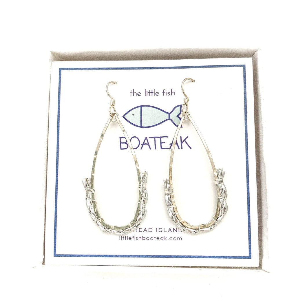 dock line rope earrings {silver braid} keel