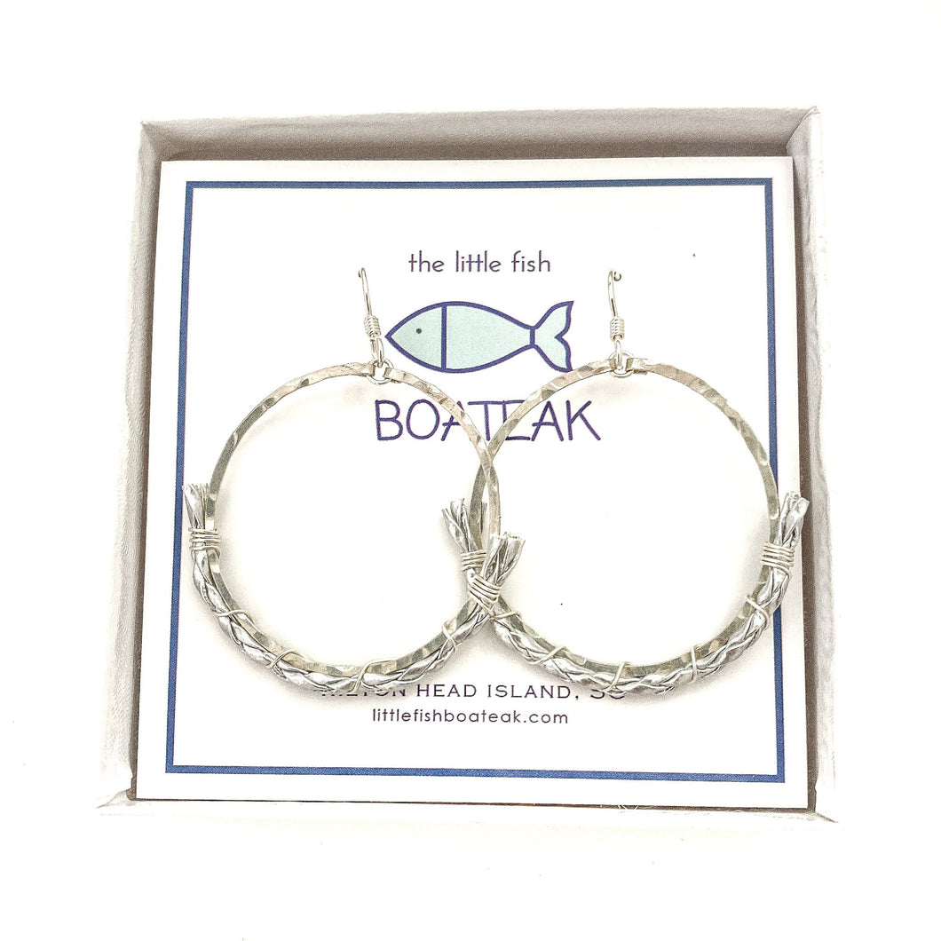 dock line rope earrings {silver braid} mainsail small