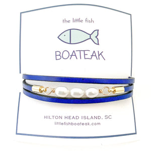 dock line simple (3) pearl triple wrap {navy}