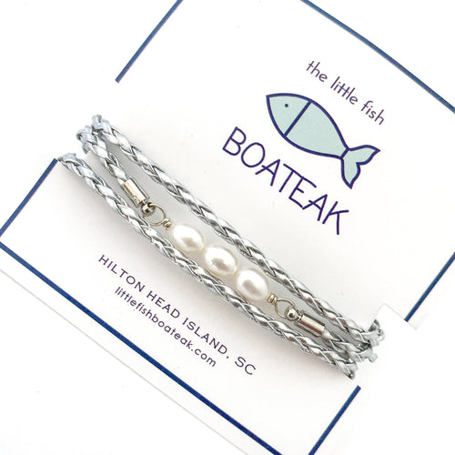 dock line simple (3) pearl triple wrap {silver braid}