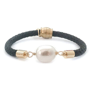 pearl girl bracelet {statement rice pearl/black rope}