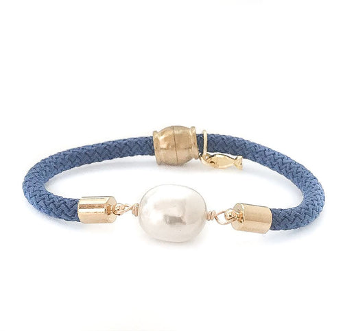 pearl girl bracelet {statement rice pearl/blue rope}