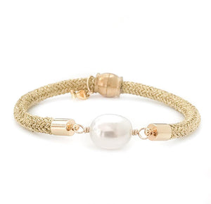 pearl girl bracelet {statement rice pearl/gold rope}