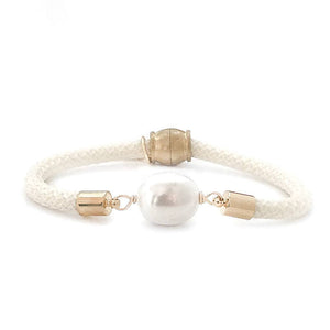 pearl girl bracelet {statement rice pearl/ivory rope}