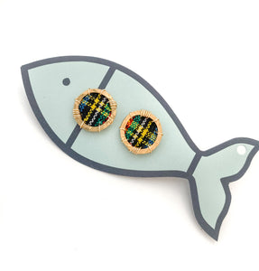 tournament plaid porthole studs