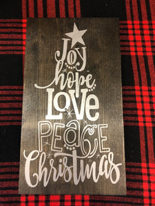 Joy Hope Love Peace Christmas Tree