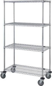 "Quantum 4 Wire Shelf Mobile Cart M2448C46, 24"" x 48"" x 69"" High"