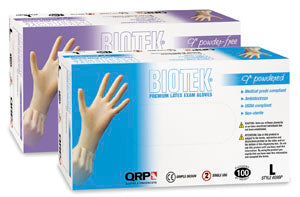 QRP 609BPF-L Latex Gloves, Powder-Free, Box of 100, Large