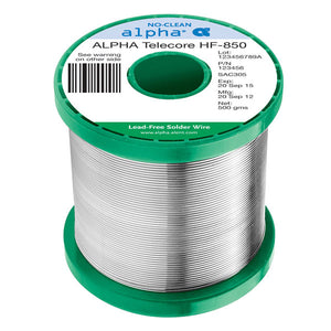 "Alpha 160142, SACX0307 Telecore HF-850 No-Clean .020"" Diameter Solder Wire, 1 LB Spool"