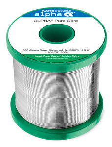 "Alpha SACX0307 Lead-Free Purecore Water-Soluble .032"" Diameter Solder Wire, 1 LB Spool"