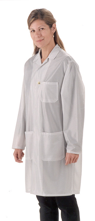 Tech Wear LOC-13 Knee-Length White ESD Lab Coat, Small