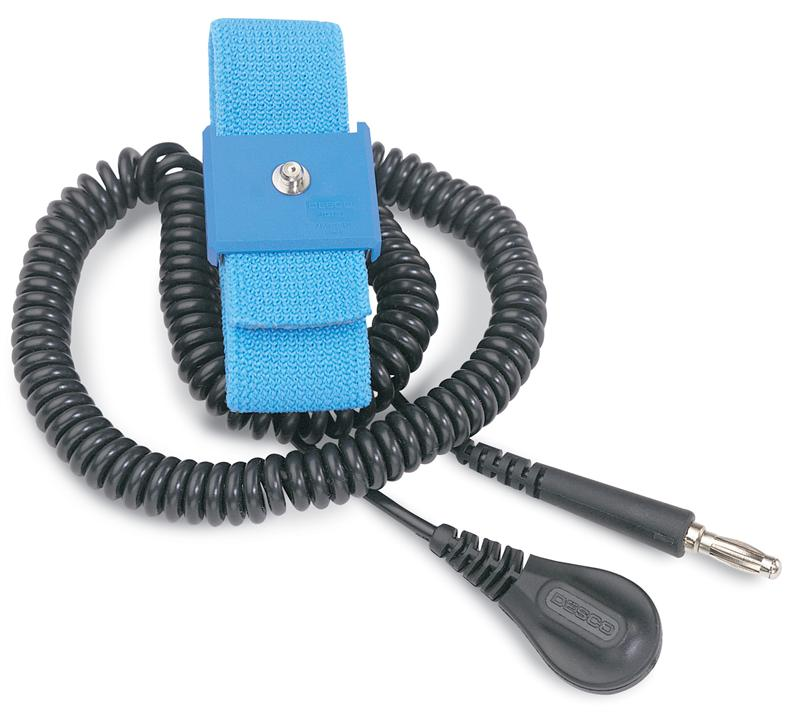 Desco 09070 Premium Adjustable ESD Wrist Strap Set with 6' Coil Cord