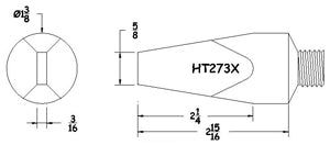 Hexacon HT-273X Threaded Soldering Tip, 1-3/8