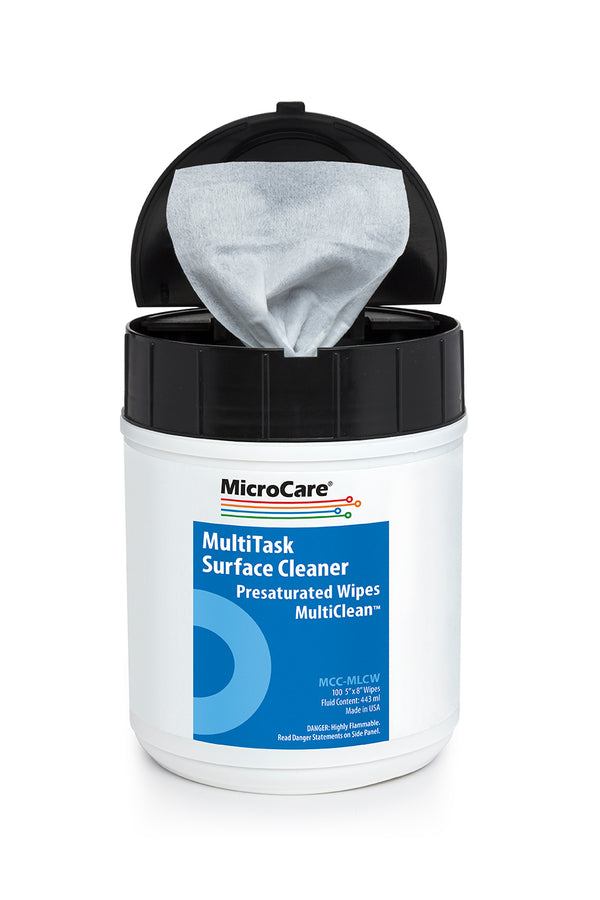 Micro Care MCC-MLCW 70% Isopropyl Alcohol Disinfecting Wipes with MultiClean, Tub of 100 Wipes