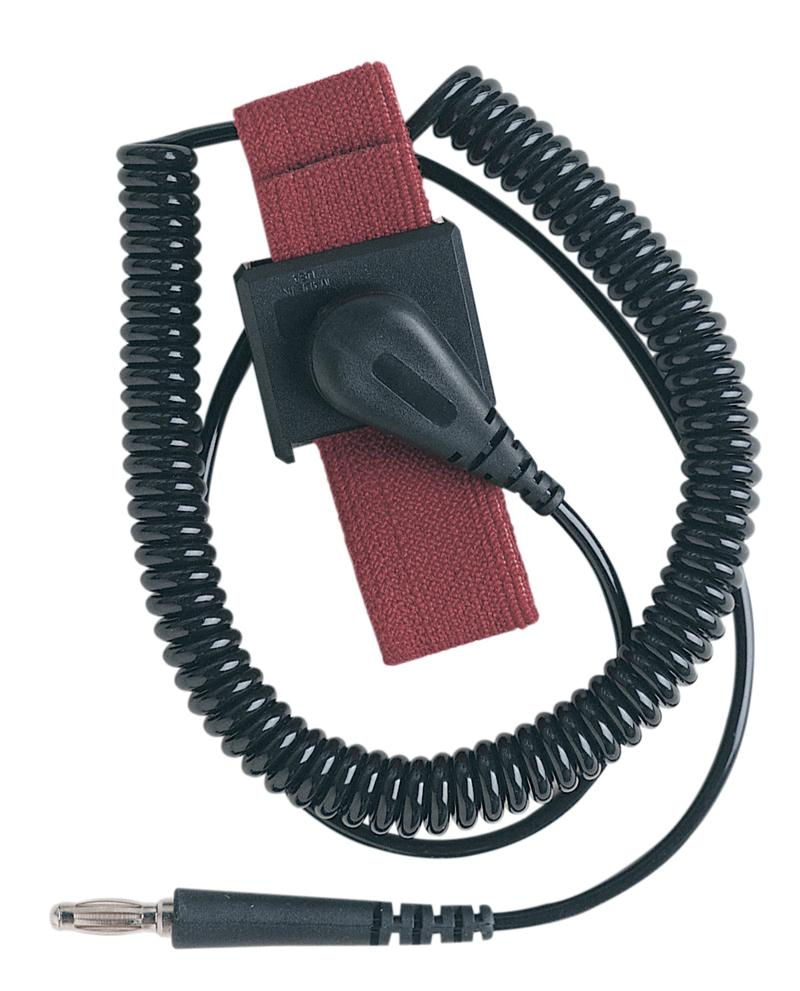 Desco 09039 Adjustable Maroon ESD Wrist Strap Set with 6' Coil Cord