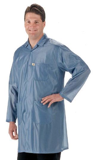 Tech Wear LOC-23 Knee-Length Blue ESD Lab Coat, Medium