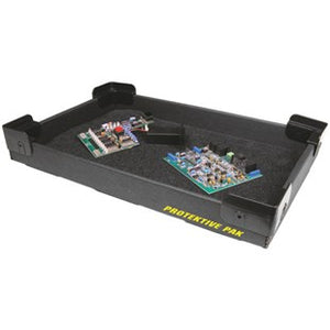 "Protektive Pak 37762 ESD-Safe Stackable Super Tek-Tray with Plastek Corners, 18"" x 11-3/8"" x 1-3/4"""