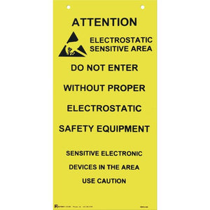 "Botron B6720 Hanging ESD Sign, 10"" x 20"""