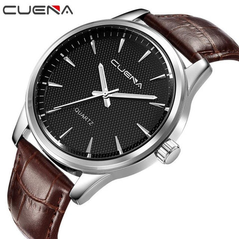 CUENA Brand Watches Men Fashion Watch Quartz Faux Leather Wristwatches For Mens Waterproof Clock Men Watch erkek kol saati #XJ10